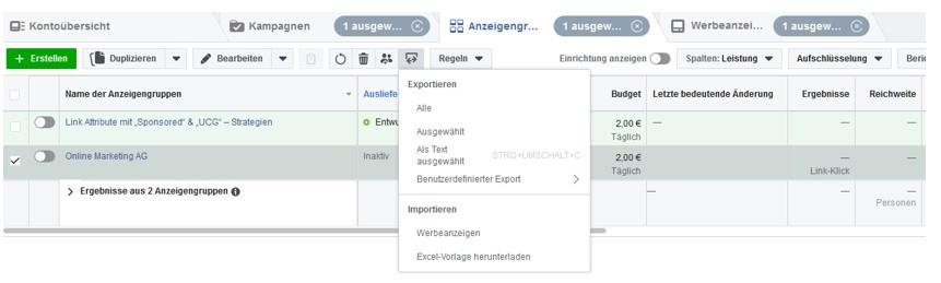 Facebook Ads mit Importliste