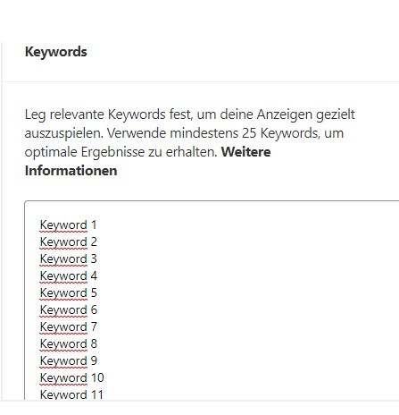 Keywords festlegen