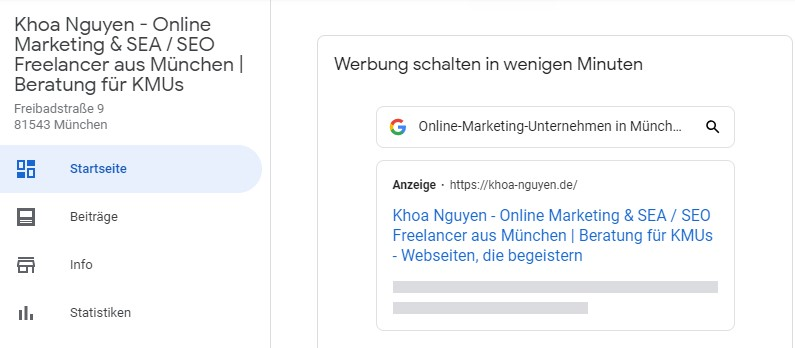 Google My Business für Local SEO
