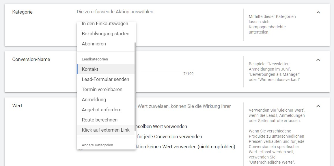 Google Ads Conversion auf der Plattform