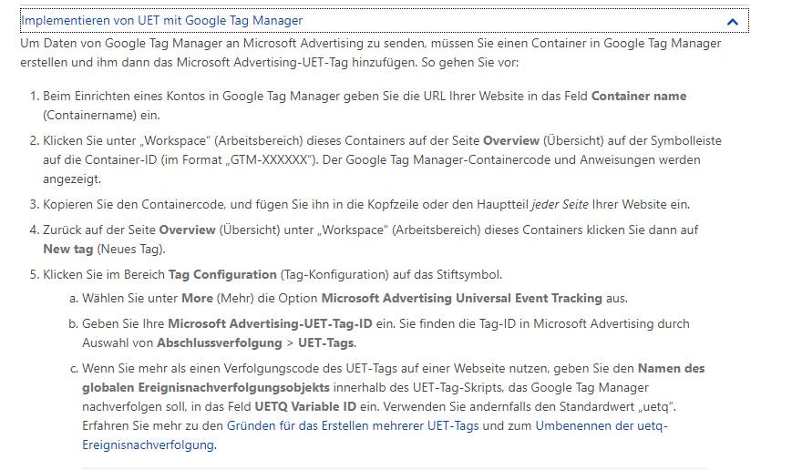 Implementieren UET Tag für Bing Ads