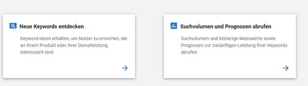 Keyword Planer Optionen
