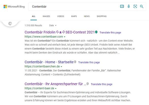Bing Ergebnisse Contentbär