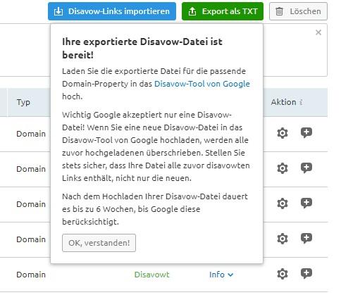 Disavow Datei exportieren
