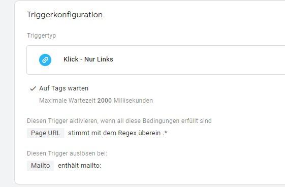 Triggerkonfiguration Mail